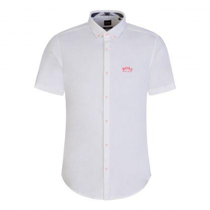 White Athleisure Short-Sleeve Curved Logo Shirt