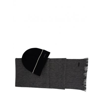 Black Virgin-Wool Beanie Hat & Two-Tone Scarf Diamante Set