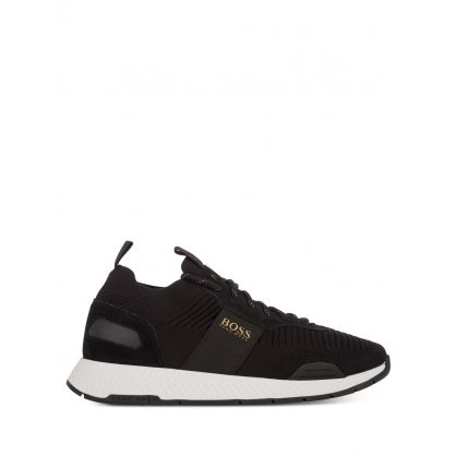 Black Knitted Titanium Runners Trainers
