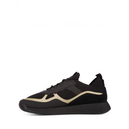 Black/Gold Knit Titanium Runners Trainers