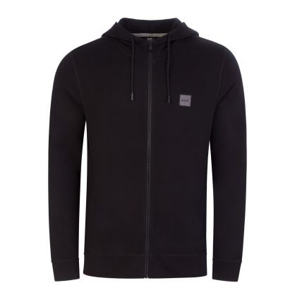 Black Casual Relaxed-Fit Logo Zip-Through Hoodie