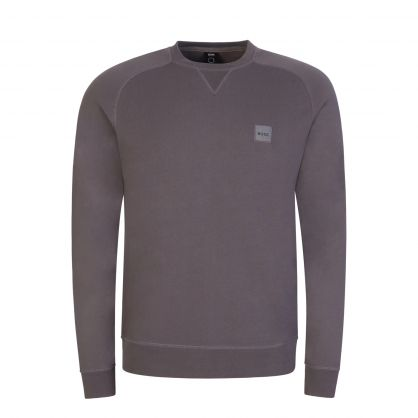 Grey Casual Relaxed-Fit Melange Logo Patch Sweatshirt