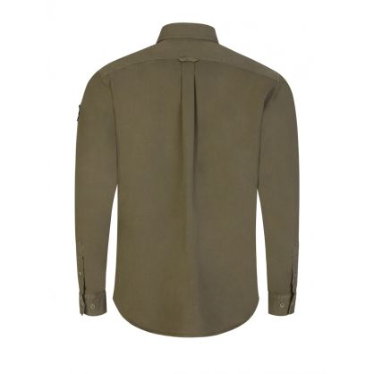 Green Garment-Dyed Cotton Pitch Twill Shirt