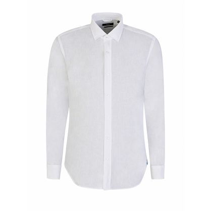 Menswear White Slim-Fit Italian Linen Joy Shirt