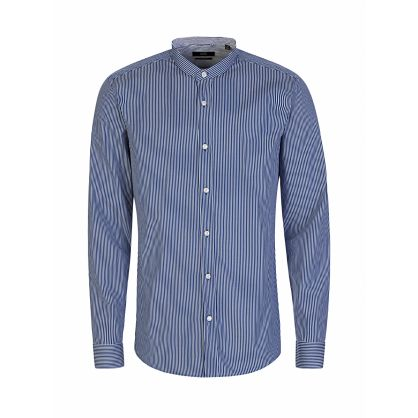 Menswear Blue/White Slim-Fit Jorris Grandad Shirt