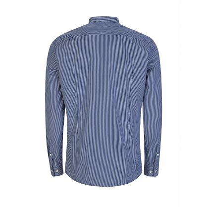 Blue/White Slim-Fit Jorris Grandad Shirt