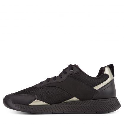 Black Leather/Mesh Titanium Runner Trainers