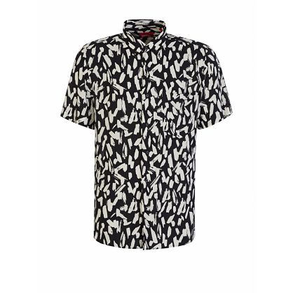 Menswear Black Abstract Print Ekilio Shirt