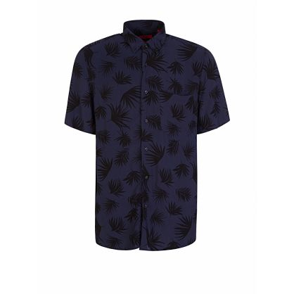 Menswear Navy Relaxed-Fit Patterned Ekilio Shirt