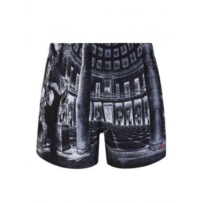 Black Museum Print Swim Shorts