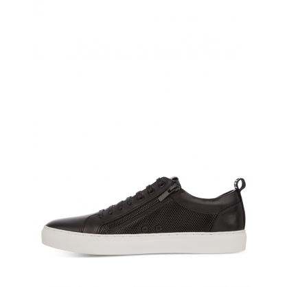 Black Leather Low-Top Futurism Tennis Trainers