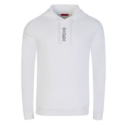 White Dondy213 Cropped Logo Popover Hoodie