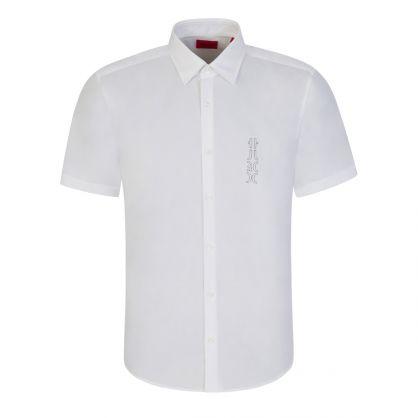 White Slim-Fit Mirrored Logo Ermino Shirt