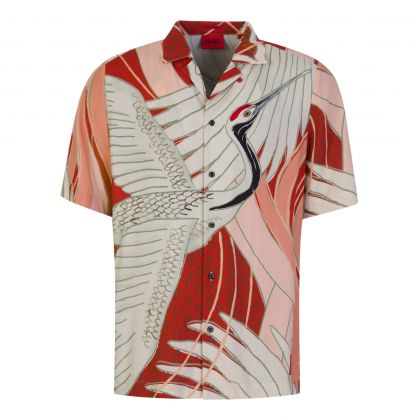 Red/White Relaxed-Fit Japanese Crane-Print Shirt