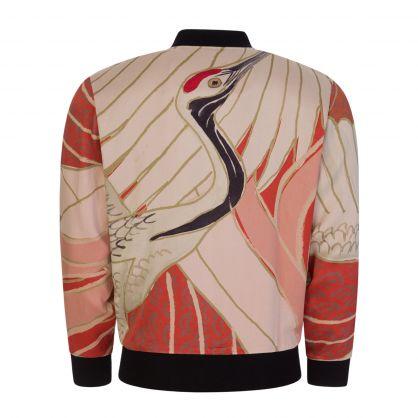 Red/Beige Oversized Japanese Crane-Print Bomber-Style Sweatshirt