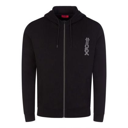 Jet Black Deerio Cropped-Logo Zip-Through Hoodie