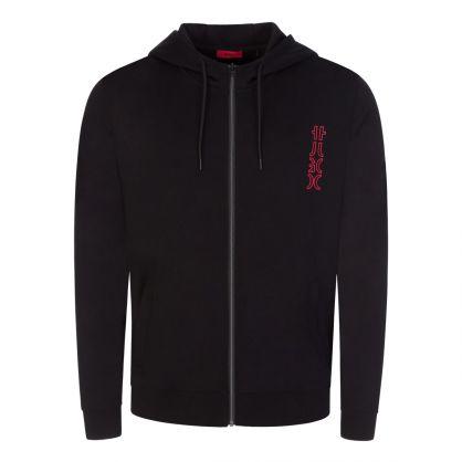 Black Deerio Cropped-Logo Zip-Through Hoodie