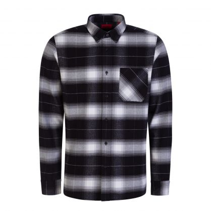 Black Relaxed-Fit Checked-Cotton Flannel Ermann Shirt