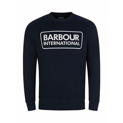 Navy Logo Print Sweatshirt