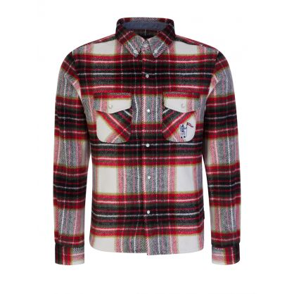 Red Wool Check Overshirt