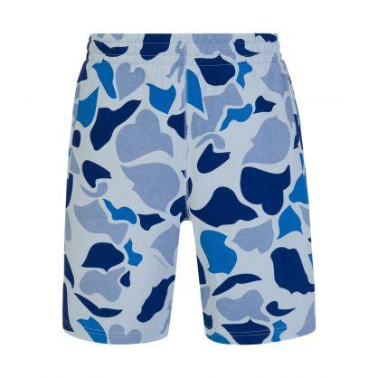 Blue Camo-Print Sweat Shorts