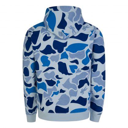 Blue Camo-Print Arch Logo Popover Hoodie