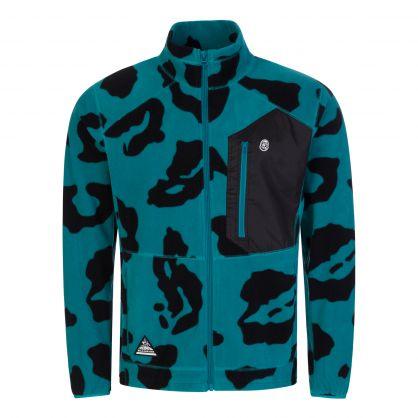 Teal Leopard-Print Zip-Through Fleece