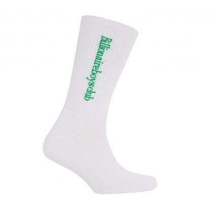 White Serif Logo Socks