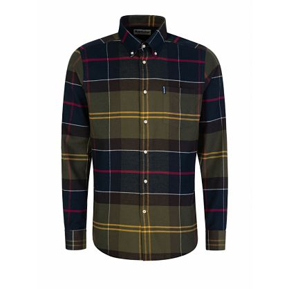 Navy Tailored Fit Tartan 3 Shirt