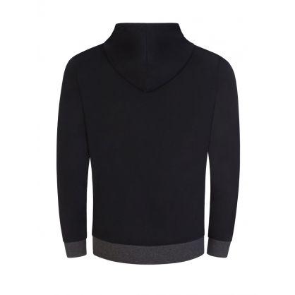 Black Bodywear Block-Striped Logo Hooded Zip-Through