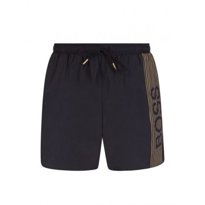 Black Beachwear Quick-Dry Icefish Swim Shorts