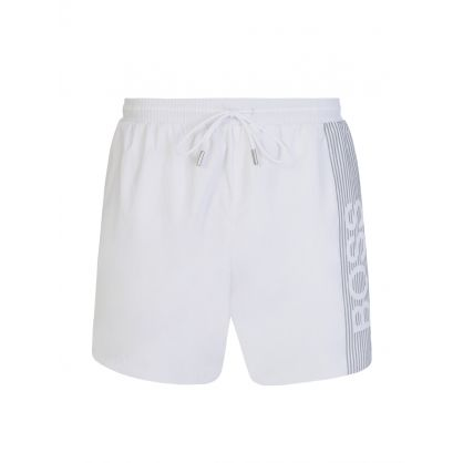 White Beachwear Quick-Dry Icefish Swim Shorts