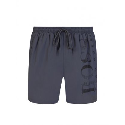 Grey Beachwear Logo-Print Octopus Swim Shorts