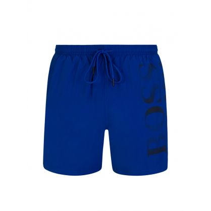 Blue Beachwear Logo-Print Octopus Swim Shorts