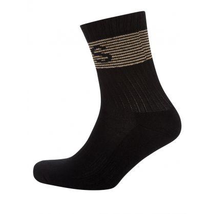 Black Glitter Rib Logo Socks