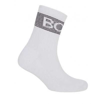 White Glitter Rib Logo Socks