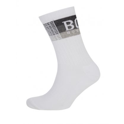 White Rib Check Stripe Socks