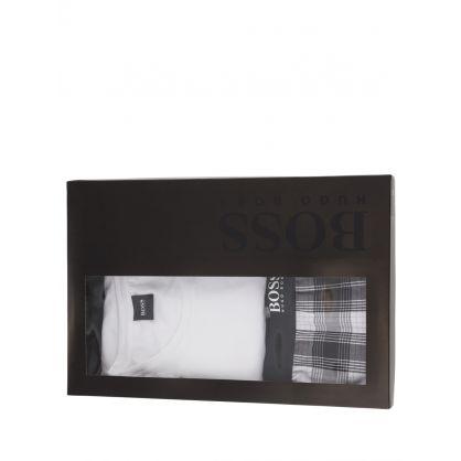 White/Black Urban Pyjama Shorts Set