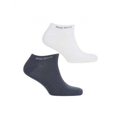White/Blue Logo Ankle Socks Two-Pack