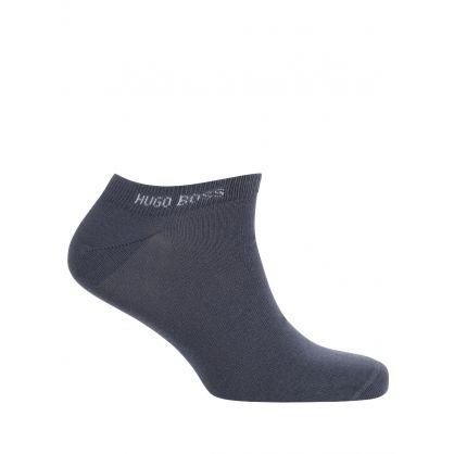 White/Blue Logo Ankle Socks Two-Pack