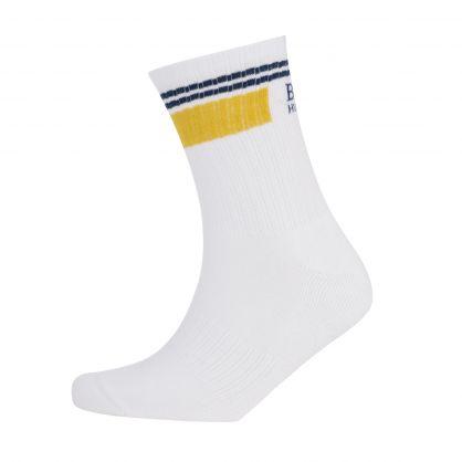 White Finest Soft Cotton Rib Stripe Logo Socks