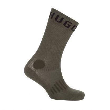 Green/Black Cotton-Blend Quarter-Length Socks 2-Pack