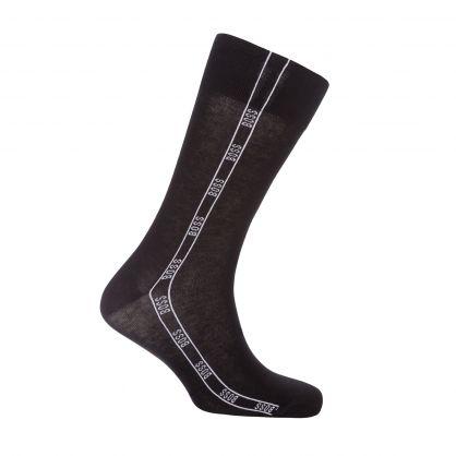 Black Cotton-Blend Logo Artwork Socks