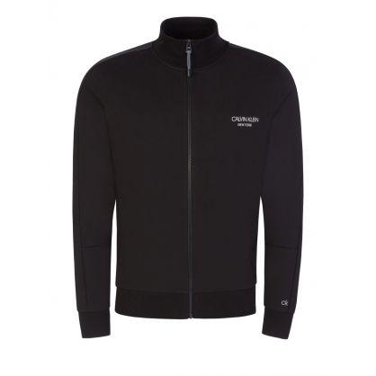 Black Organic Cotton Zip-Up Cardigan