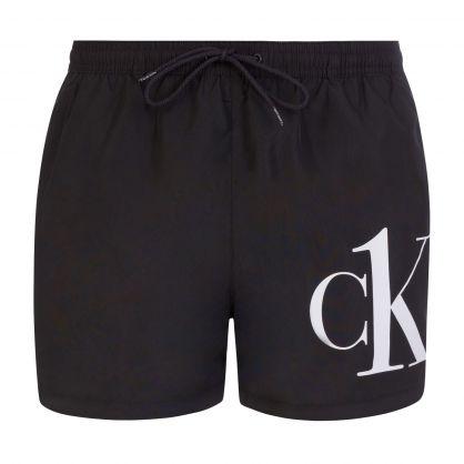 Black Short Drawstring Swim Shorts
