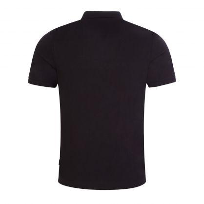 Black Slim-Fit Cotton Mesh Polo Shirt