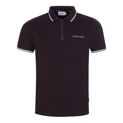 Black Slim-Fit Organic Cotton Zip-Neck Polo Shirt