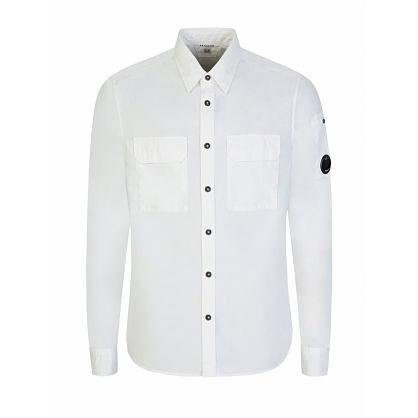 White Long Sleeve Gabardine Shirt