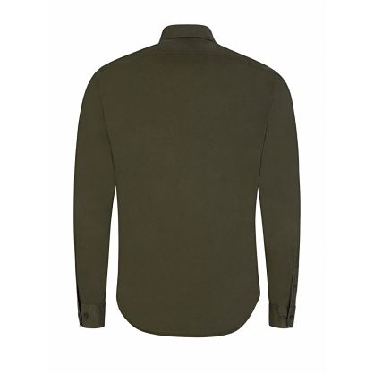 Green Long Sleeve Gabardine Shirt