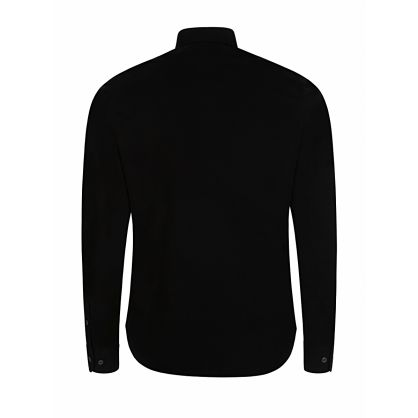 Black Long Sleeve Gabardine Shirt